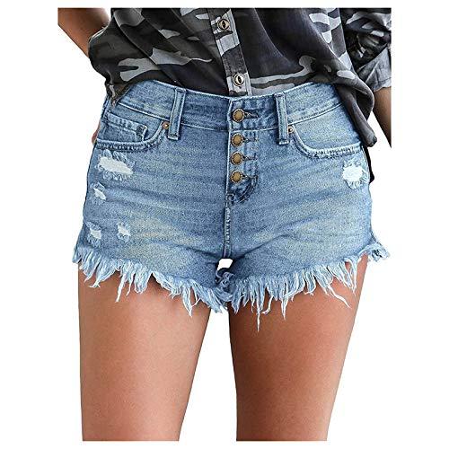 AFFGEQA Damen Lochjeans Shorts Sommer Beiläufige Taschen Mittlerer Waist Hohe Taille Zerrissene Hotpants Casual Jeans Kurz Denim Hosen