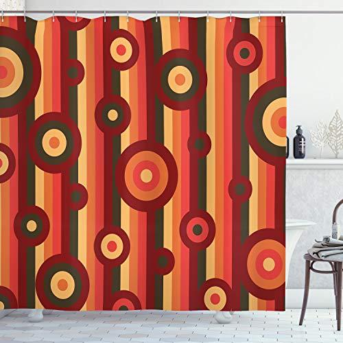 ABAKUHAUS Retro Cortina de Baño, Puntos de los círculos Arte Raya, Material Resistente al Agua Durable Estampa Digital, 175 x 200 cm, Multicolor