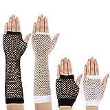 JaGely 4 Pairs 80s Fishnet Gloves Fingerless Fishnet Gloves 80s Party Gloves (Black, White)