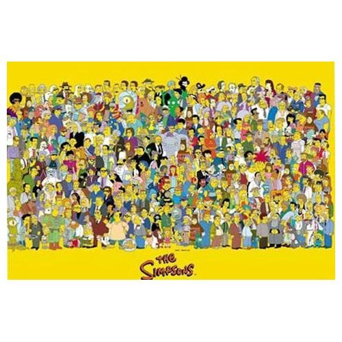 Posterjacks UK Huge Laminated/ENCAPSULATED TV Cartoon Simpsons Full Cast Characters Poster Measures 36 x 24 inches (91.5 x 61cm)