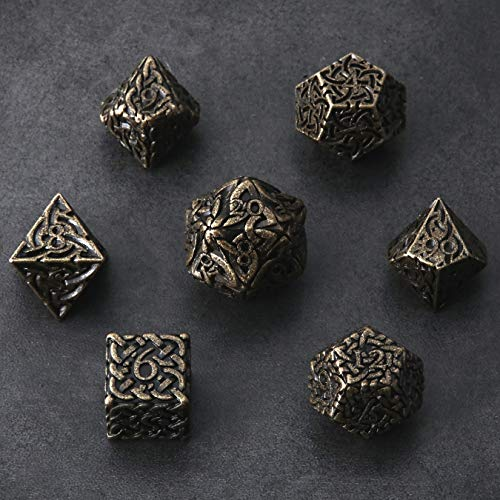 Tarnished Gold Endless Destruction Dice 7 piece Polyhedral Metal Dice Set Celtic Knots Extra Heavy & Large for DnD Dungeons and Dragons Call of Cthulhu Pathfinder RPG Dice Ranger Barbarian Druid Dice