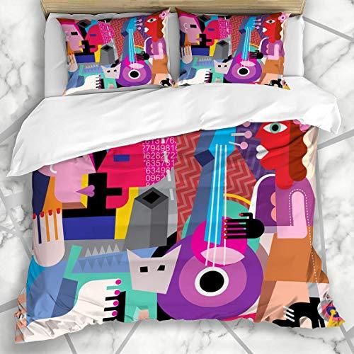 Bettbezug-Sets Kuss Tanz Tanzendes Paar Gitarre spielen Abstrakt Picasso Musik Kubismus Modernes Personendesign Mikrofaserbettwäsche Doppelgröße mit 2 Kissenbezügen Pflegeleicht Antiallergisch Weich G