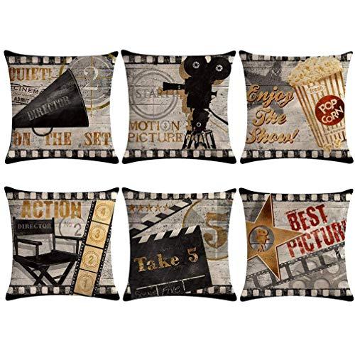 Juego de 6 fundas de almohada para cine vintage, diseño de cartel de cine con palomitas, tira de película, diseño de cartel de palomitas, decoración para el hogar
