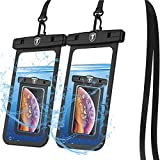 Tiflook Waterproof Pouch Phone Dry Bag Underwater Case for LG Stylo 6 5 4 Velvet Wing K51 K92 K31 V60 V50 V40 G8 G7 Journey Reflect Phone Pouch for Beach with Lanyard Neck Strap, Black (2 Pack)