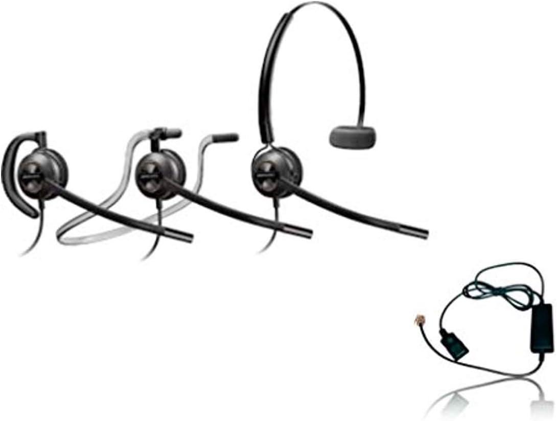 Plantronics HW540 Headset Bundle Mono Noise-Canceling and Inteli Cord, Compatible with Yealink, Polycom, Mitel, Cisco, Nortel, Shoretel Phones (HW540 Convertible Headset Bundle)
