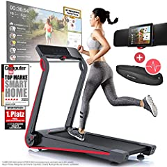 Sportstech F17 Noble Löpband - Live Videos & Multiplayer APP & Easy Folding System | Top Brand Smart Home 06/20 | ingen karosseri, 12 KM/H, 2,5hk, pulsbälte + smörjsystem för din konditionsträning hemma