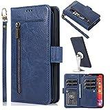 Miagon Multifunzione 9 Slot per Schede Portafoglio Custodia per Samsung Galaxy Note 9,Pelle Cerniera Monete Borsa Flip Cover con Staccabile Magnetica Case,Blu