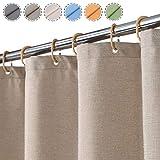 Flachs Leinen wie 240GSM Schwerer Duschvorhang für Badezimmer mit Haken Hotel Luxury Fabric Washable,Taupe,80x180 cm