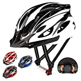 RaMokey Cycle Helmet, Lightweight Bicycle Helmet, Adjustable Mountain & Road Bike Helmets for Adults, 18 Vents with Adjustable Strap & Detachable Visor for Mens Womens (Sizes 57-63cm) (Black+White)