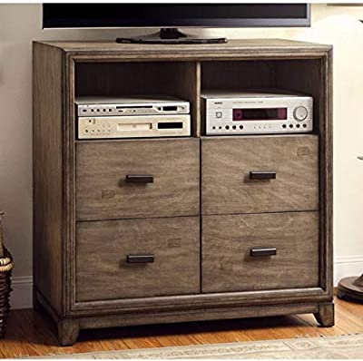 Benjara Benzara Modish Wooden Media Storage Chest, Brown,