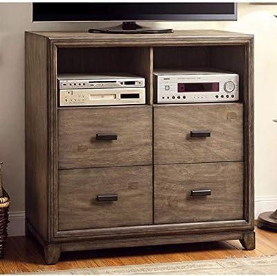 Benjara Benzara Modish Wooden Media Storage Chest, Brown,