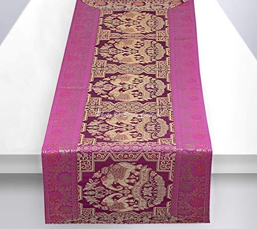 Stylo Culture Dekorativer Indien Tischdecke Lila Gold Elefant Blumen Bohemien Jacquard Tischläufer Rechteckig 5 Fuß Für Mitteltabelle Brokat Rezeption Tischplatte (40 x 152 cm)