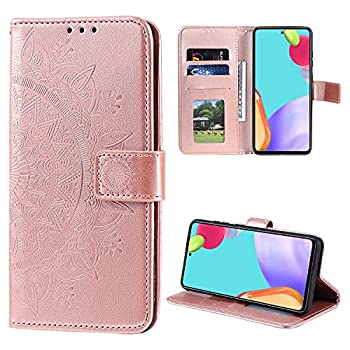 EYZUTAK Mandala Phone Cover for Samsung Galaxy A51 4G Ultra Slim Flip Case with Card Slot Magnetic Closure Embossing PU Leather Case with Stand Function and Lanyard Foldable Motif-Rose Gold