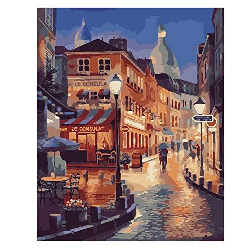Wfmhra Ciudad Noche Calle Barco Pintura al óleo Cartel Moderno mar Arte Imagen para la decoración del hogar árbol Lago Pintura al óleo 50x70 cm sin Marco