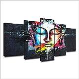 Admitacre Leinwand Wandkunst 5 Gemälde auf Leinwand Leinwand Poster für Wohnzimmer Wandkunst HD-Drucke 5 Stück Farbe abstrakte Buddha-Gemälde Home Decor Buddhismus Bilder (Rahmenlos) 150 * 80CM