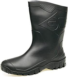 Womens Dunlop Short Half Length Ankle Wellington Wellies Boots WIDE FIT CALF UK 4 -9 BLACK