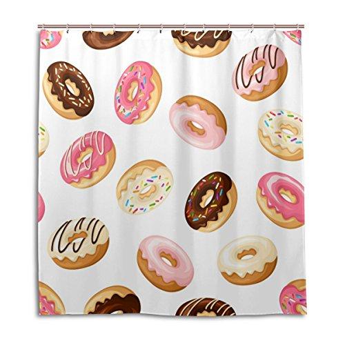 jeansame aanpasbare bad douchegordijnen badkamer gordijn schattig taart brood bakkerij Donut 66 x 72 Inch