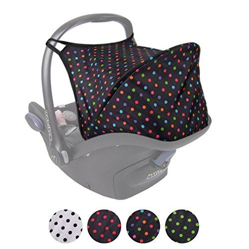 BAMBINIWELT Sonnenverdeck UV50+ für Maxi-Cosi Cabriofix, Sonnendach Babyschale, Autositz PUNKTE (schwarz - bunte Punkte) XX