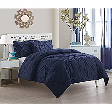 VCNY Home Queen Size Comforter Set in Navy Posh Pintuck 4 Pc Set w/Decorative Pillows
