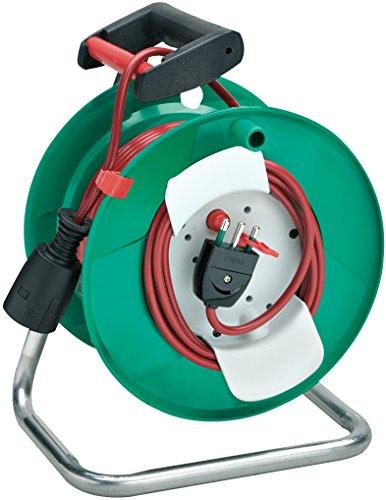 Brennenstuhl Garant, Enrollacables de jardín Manual (50MT–Tambor de plástico Verde, Cable Rojo)...