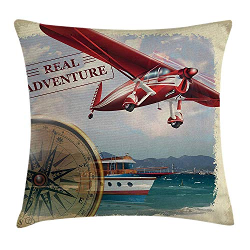 Butlerame Funda de Almohada de Tiro de Aventura, Cita de Aventura Real con litoral y un Viaje en avión Rojo, Arte temático de Viaje, 18 x 18 Pulgadas, Multicolor