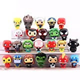 24 Pieces Superheroes Action Figures Cake Toppers Toys for Boys Cupcake Figurines Justice League Set Super Hero Legends Ornaments Happy Birthday Avenger Decorations Party Supplies Gift
