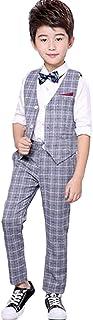 (ジュンィ) 男の子 スーツセット 夏 上下セット 3点セット フォーマル スーツ 半袖 チェック柄 英国風 七五三 演出