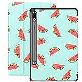 Funda Galaxy Tablet S7 Plus de 12,4 Pulgadas 2020 con Soporte para bolígrafo S, Textura fluida Slices Watermelon Vector Slim Stand Funda Protectora Tipo Folio para Samsung
