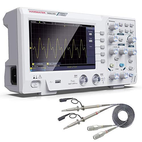 DOS1102 Miglior Oscilloscopio Digitale 100 MHz Schermo Oscillografico 2 Canali 7 Pollici, Display TFT-LCD, Kit Oscilloscopio Professionale Portatile con Frequenza di Campionamento 1GS s