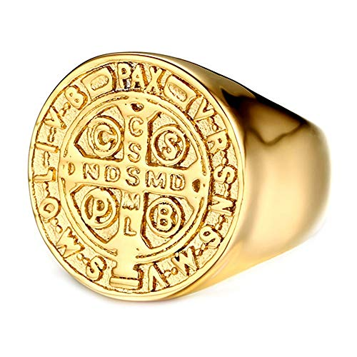 BOBIJOO JEWELRY - Anillo Sello Hombre Medalla Cruz Orden de San Benito de Nursia Acero Sainless Chapado En Oro - 29 (13 US), Dorado - Acero Inoxidable 316