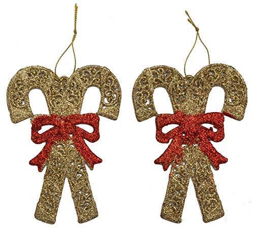 monde éblouissant Ornamentos de Navidad - bastón de Caramelo Las ejecuciones de Oro - 2pc ITG # 452