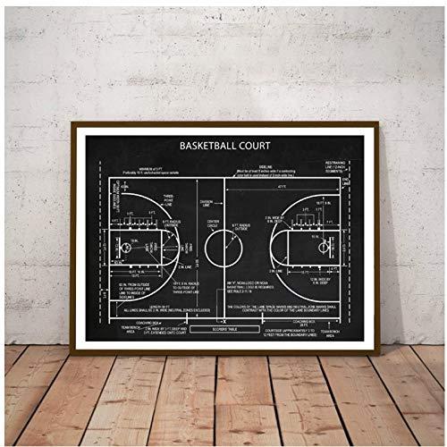 BINGJIACAI Carteles de cancha de baloncesto impresiones de arte en lienzo deportes baloncesto lienzo pintura cuadro de pared habitación de niños decoración del hogar regalos -42x60cm sin marco