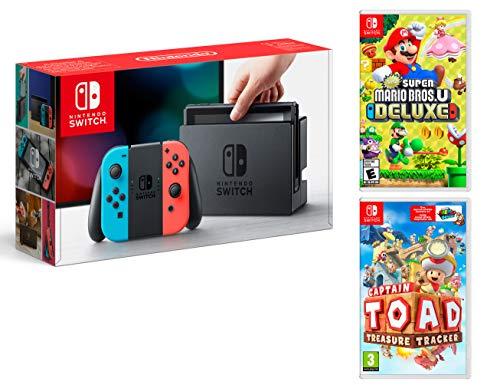 Nintendo Switch Rouge/Bleu Néon 32Go + New Super Mario Bros. U Deluxe + Toad Treasure Tracker