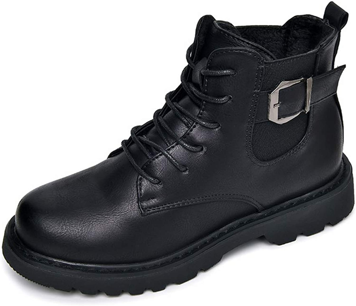 Super frist Women's Ankle Boots Flat Lace Up Boots Buckle Warm Waterproof Martin Boots