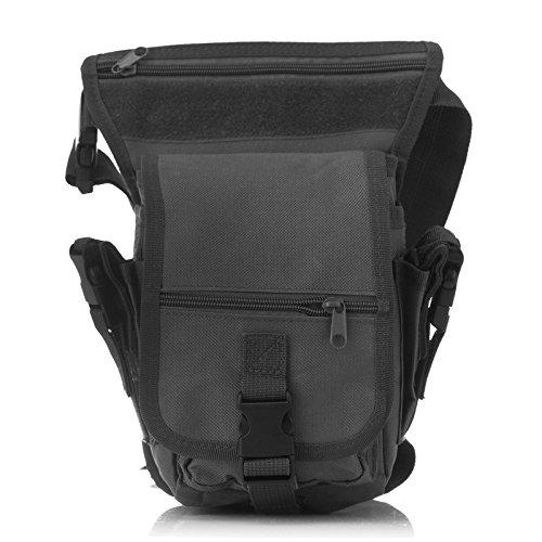 Ruifu Sac de jambe multifonction pour extérieur, sac utilitaire, sac banane étanche et tactique (noir)