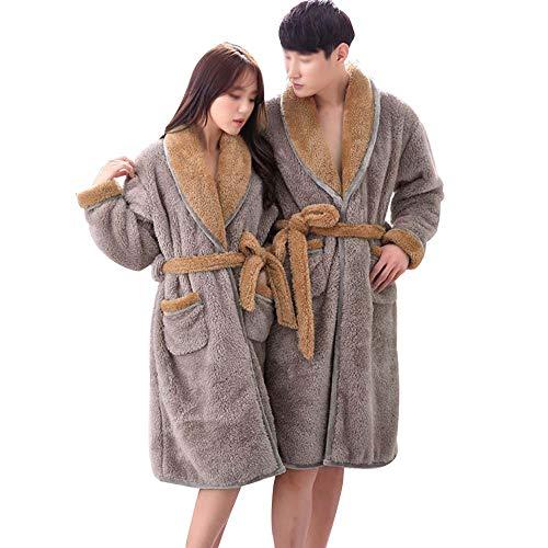 GJFeng Couple De Pyjama À Manches Longues en Velours Corail Chaud Épais Modèles d'automne Et d'hiver Robe Simple Costume De Sauna Gris Flanelle Doux et Confortable (Color : Male, Size : XXL)