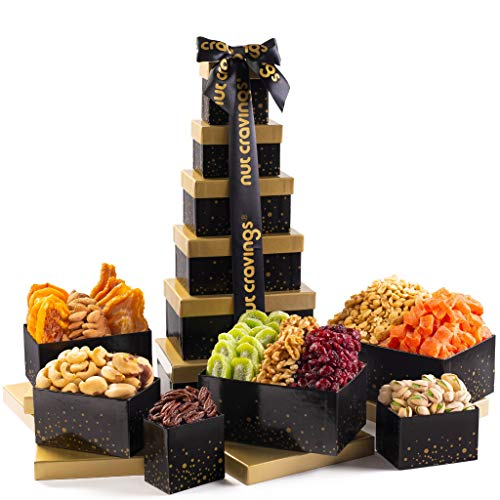 Gourmet Tower Gift Basket Nut & Dry Fruit Tray (12 Mix) - Variety Care Package, Birthday Party Food,...