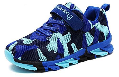 MAOGO Schuhe Kinder Sportschuhe Jungen Sneaker Camouflage Atmungsaktive Freizeitschuhe für Mädchen (30, Blau)