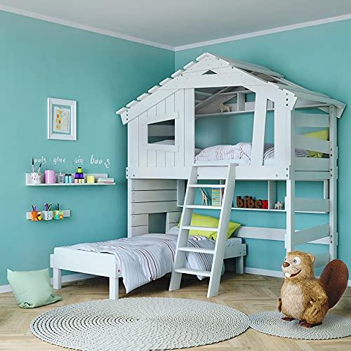 Alpin Chalet, letto a soppalco per bambini, letto matrimoniale in legno massiccio laccato bianco (accessori opzionali, con ripiano inferiore e ripiano superiore)