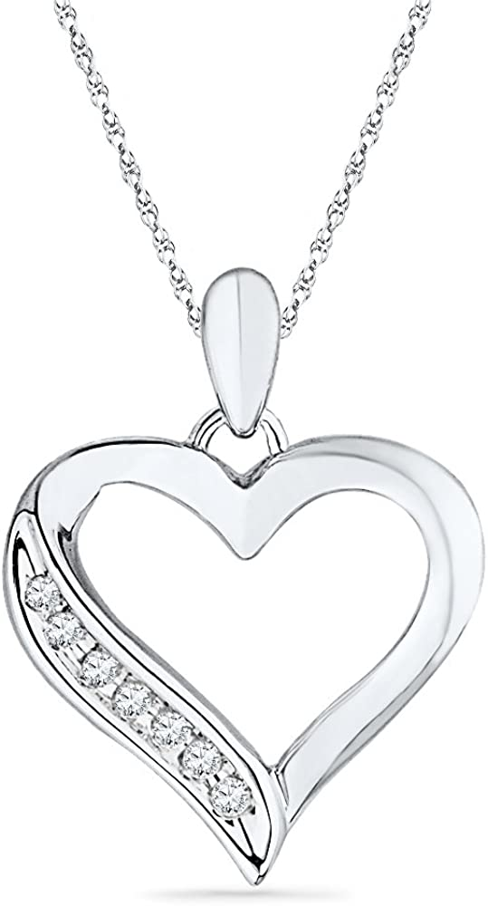DGOLD Dealing full Dedication price reduction Sterling Silver Round Diamond cttw 0.06 Heart Pendant