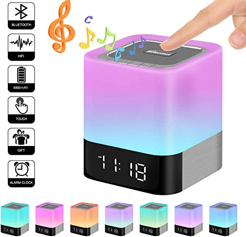 Dook Bluetooth-lamp, bedlamp, LED, met bluetooth-luidspreker, lamp touchscreen, kleurverandering, ondersteunt TF-kaart/USB/Bluetooth/AUX, voor thuis, camping, kantoor