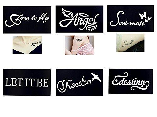 Tattoo pochoirs/modèles 6 Petites Sheet Set de mini 3 pour Henna Tattoo Glitter tattoo Air Brush Tattoo