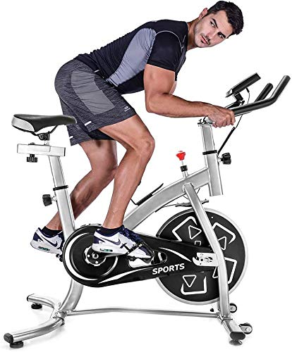DKLGG Indoor Cycling Bike Stationary with Monitor Belt Drive Exercise Bike with 22lbs Flywheel (Silver+Black) (Black)