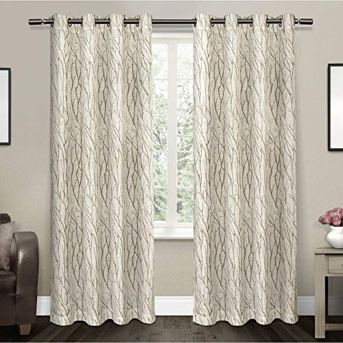 Exclusive Home Oakdale Motif Textured Linen Window Curtain Panel Pair with Grommet Top 54x84 Taupe 2 Piece