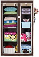 FOLDDON Foldable Wardrobe with 8 Racks, Standard Size (Beige and Brown)