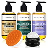 Anti Cellulite, Sore Muscle & Lavender Relaxation Massage Oils with Roller Massage Ball and Massager Mitt- Perfect, Spa Treatment Gift Set