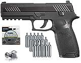 9. SIG Sauer P320 Airgun .177 Cal 30 Rd with CO2 12 Gram (15 Pack) and 500 Lead Pellets Bundle (Black)