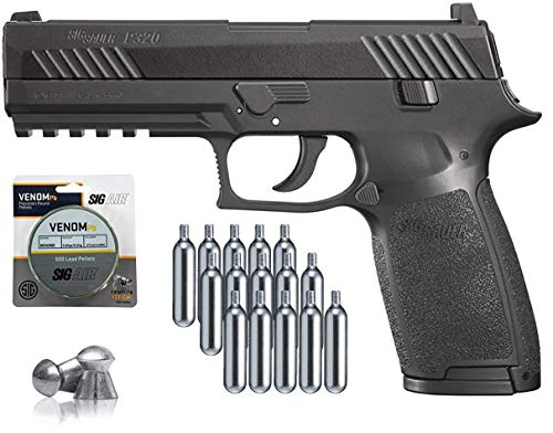 SIG Sauer P320 Air Pistol with CO2 12 Gram (15 Pack) and 500 Lead Pellets Bundle (Black)