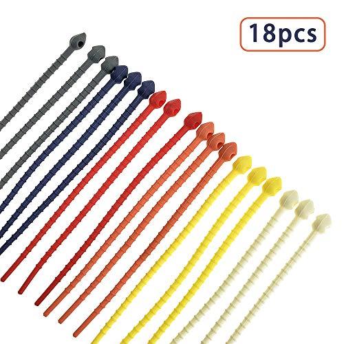 18 Pack siliconen kabelbeheerbinders Verschillende kleuren Smart Ties Cord Wrap Organizer Rubber Twist Ties Herbruikbare Ritsbinders voor HDMI-kabels Oortelefoon Food Bag, 7 Inch