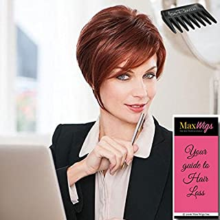 Salon Sleek Wig Color GL18-23 TOASTED PECAN - Gabor Wigs Petite Cap Short Asymmetrical Sassy Cut Monofilament Part Hand-Tied Flexlite Synthetic Bundle w/Comb, MaxWigs Hairloss Booklet